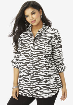 The Kate Shirt, BLACK WHITE ZEBRA
