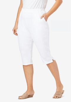 Soft Knit Capri Pant, WHITE