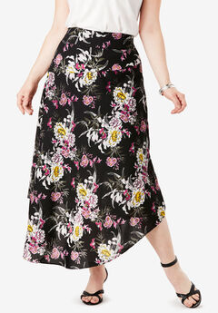 Faux-Wrap Midi Skirt,