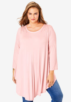 Boatneck Swing Drape Tunic with Bracelet Sleeves, SOFT BLUSH RHINESTONE