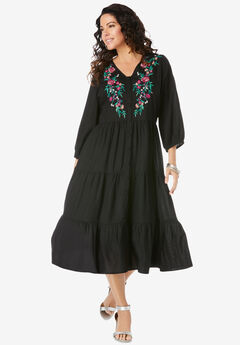 Tiered Embroidered Dress,