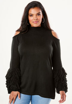 Cold-Shoulder Loop-Sleeve Sweater, BLACK, hi-res