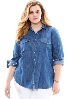 Olivia Denim Shirt, MEDIUM WASH, hi-res