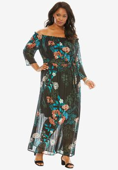 Off-The-Shoulder Printed Maxi Dress, CORAL TURQUOISE FLORAL, hi-res