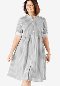 Trapeze Shirtdress with Button Front,