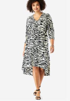 Dolman-Sleeve Wrap Dress with High-Low Hem, BLACK IVORY ZEBRA