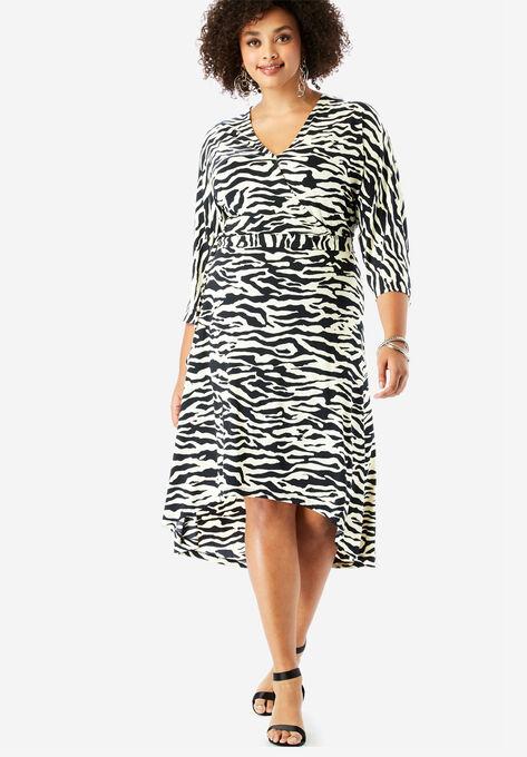 Dolman-Sleeve Wrap Dress with High-Low Hem| Plus Size Work Dresses ...