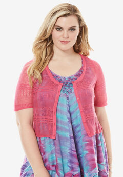Cropped Pointelle Cardigan, PASSION PINK, hi-res