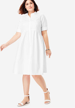 Trapeze Shirtdress with Button Front, WHITE