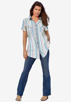 Seersucker Big Shirt, MULTI SEERSUCKER STRIPE