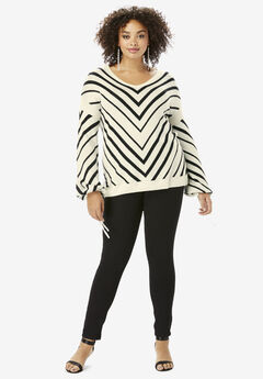 Fine-Gauge Chevron Sweater with Tie-Sleeve,
