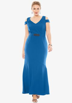 Cold Shoulder Dress by Alex Evenings, BRIGHT ROYAL, hi-res