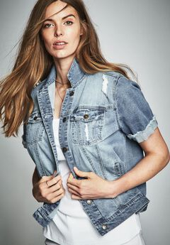 Short Sleeve Denim Jacket by Denim 24/7,