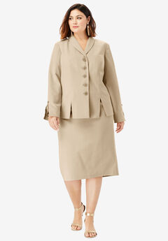Two-Piece Skirt Suit with Shawl-Collar Jacket, SANDY BEIGE