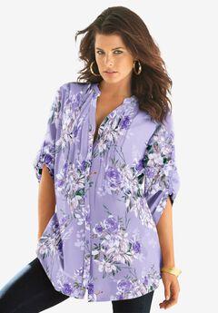 English Floral Big Shirt, LAVENDER ROMANTIC ROSE