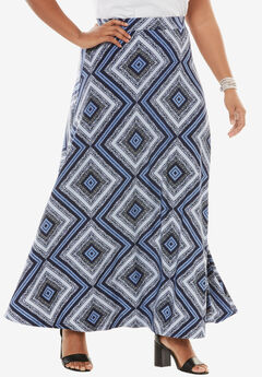 Knit Maxi Skirt, TRIBAL TRIANGLE PRINT, hi-res