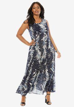 A-Line Crinkle Maxi Dress, BLUE PALM PRINT