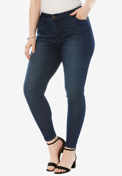 Skinny Jeans with Invisible Stretch® Waistband by Denim 24/7®, INDIGO SANDED, hi-res