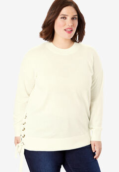 Side-Lace Pullover Sweater, IVORY