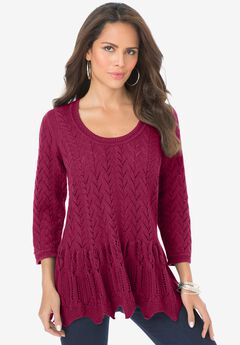 Sonia Peplum Crochet Sweater,