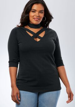 Crisscross Cutout Tee, BLACK, hi-res
