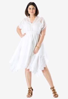 Lace Trim Dress, WHITE, hi-res