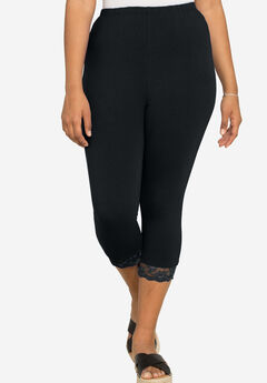 Essential Stretch Lace-Trim Capri Legging, BLACK