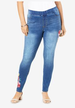 The No-Gap Jegging by Denim 24/7®, MULTI FLOWER EMBROIDERY