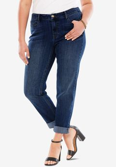 Boyfriend Jean with Invisible Stretch®, DARK WASH