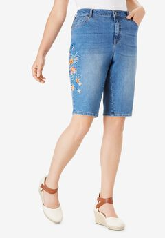 Floral Embroidered Bermuda Short by Denim 24/7®.,