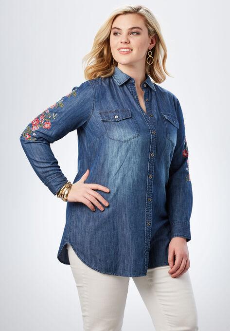 Olivia Denim Shirt by Denim 24/7®  Plus Size Tops   Roaman\'s