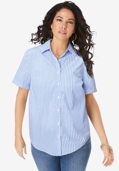 Short-Sleeve Kate Big Shirt, WHITE HORIZON BLUE STRIPE
