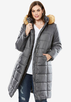 Midi-Length Quilted Parka with Faux-Fur Hood, SLATE