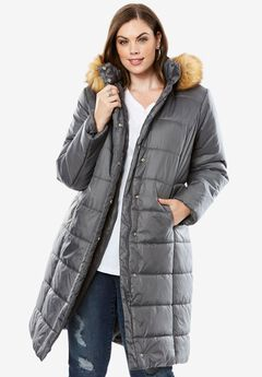 Knee-Length Quilted Parka With Faux Fur Trim Hood, , hi-res