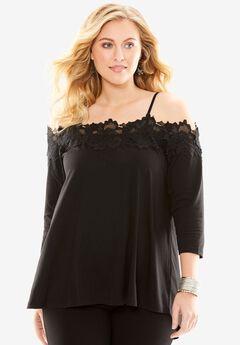Off-The-Shoulder Lace Tunic, BLACK, hi-res