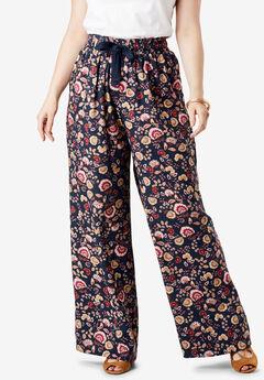 Drape Wide-Leg Pant, NAVY FOLK FLORAL