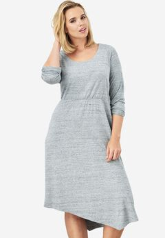 Asymmetric Dress, MEDIUM HEATHER GREY, hi-res