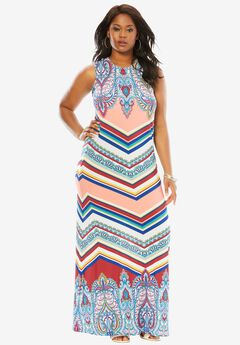 Print Maxi Dress, PAISLEY STRIPE PRINT, hi-res