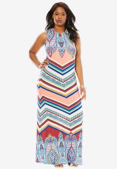 Print Maxi Dress, PAISLEY STRIPE PRINT, hi-res