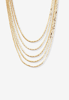 "Goldtone Multi Strand Cobra Link Waterfall Necklace 30"","