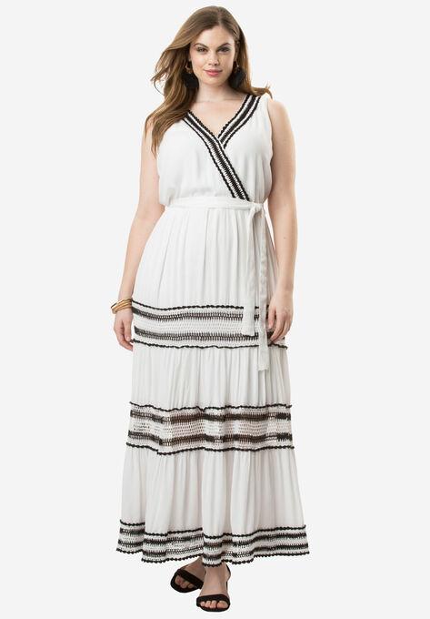 db9d6d8d432 Tiered Crochet Crinkle Dress