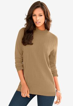 Fine Gauge Drop Needle Mockneck Sweater,