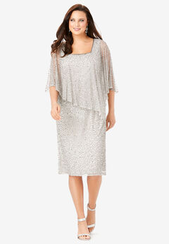 Embellished Capelet Dress,