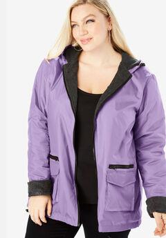 Hooded Nylon Jacket with Fleece Lining,