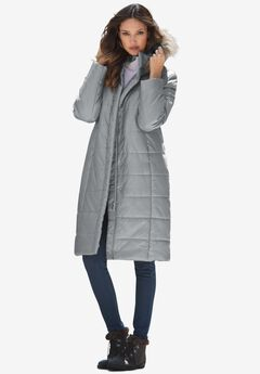 Mid-Length Puffer Jacket with Hood, GUNMETAL