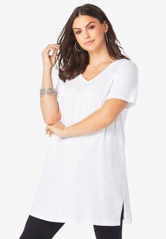 Short-Sleeve V-Neck Ultimate Tunic, WHITE