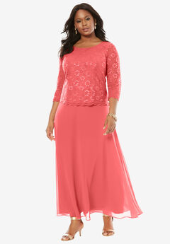 Lace Popover Dress, SUNSET CORAL, hi-res