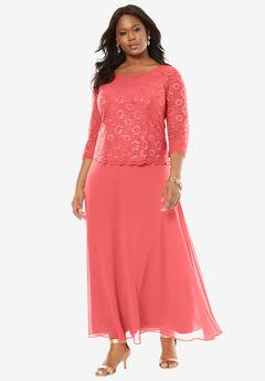 Lace Popover Dress, SUNSET CORAL, hi-res
