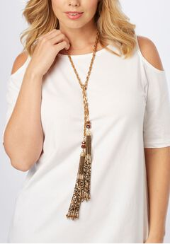 Beaded Tassel Wrap Necklace,