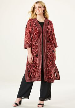 Embroidered Duster & Pant 3-Piece Set,